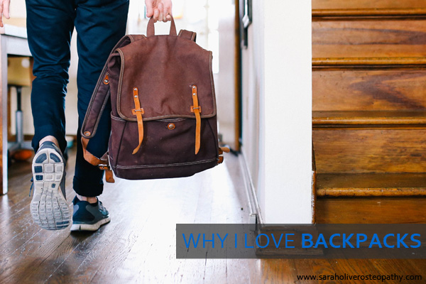 Find out why backpacks arethe best choice for your spine, click through to saraholiverosteopathy.com